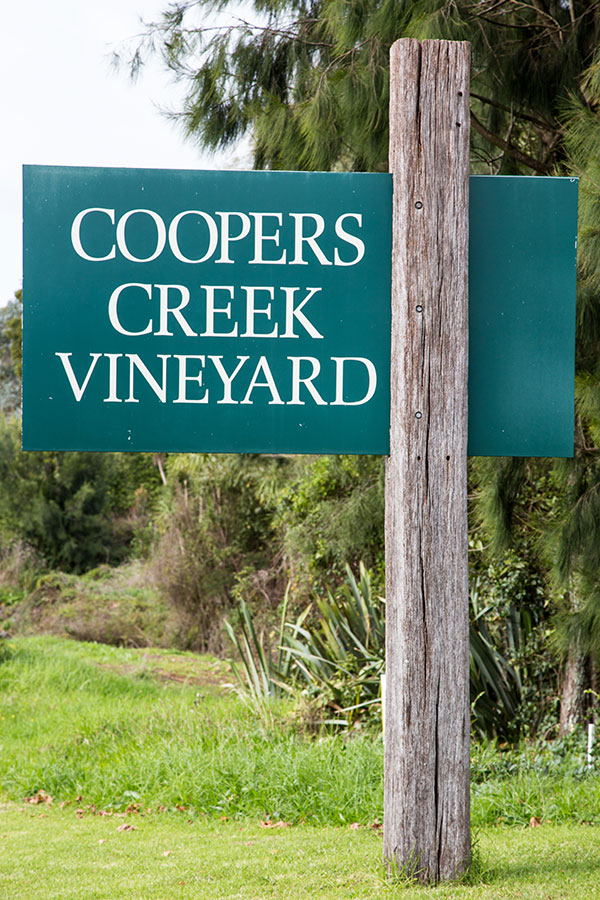 Coopers Creek Vineyard road sign