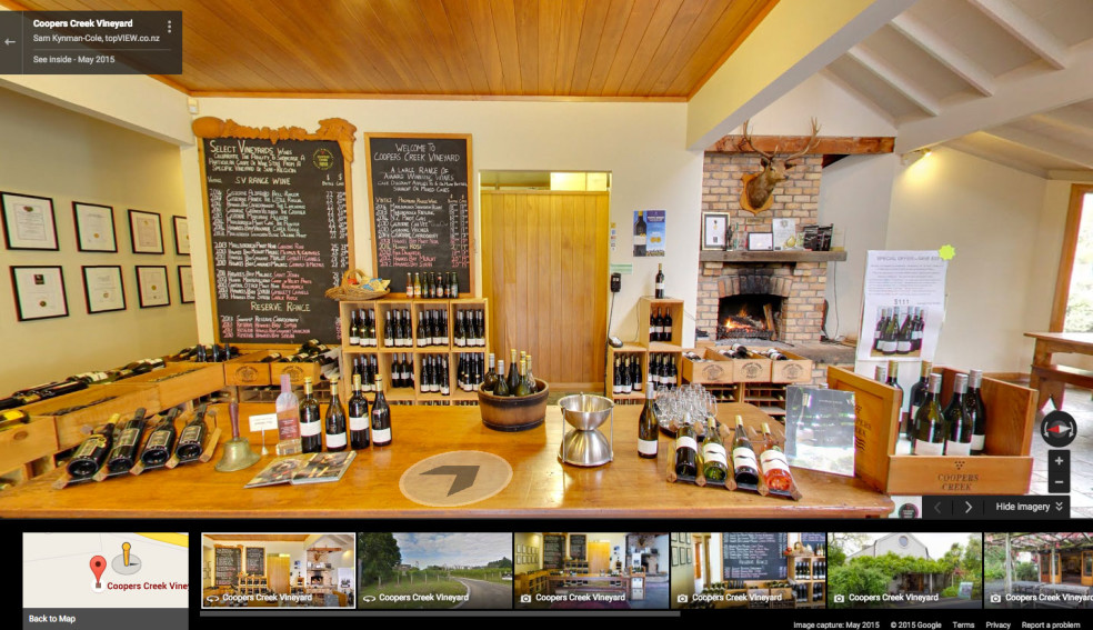 Screenshot of Google Street View tour for Coopers Creek Vineyard