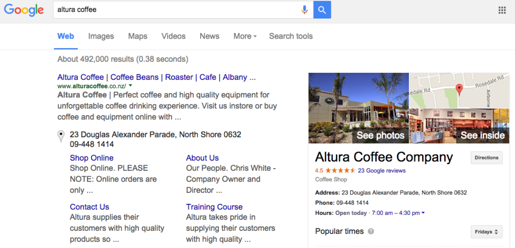 Altura Coffee Cafe Google Search SERP screenshot after Street View Inside