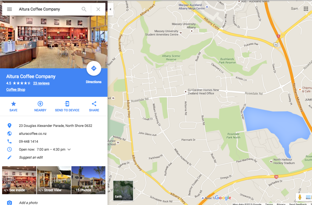 Altura Coffee Cafe Maps SERP screenshot after Street View Inside