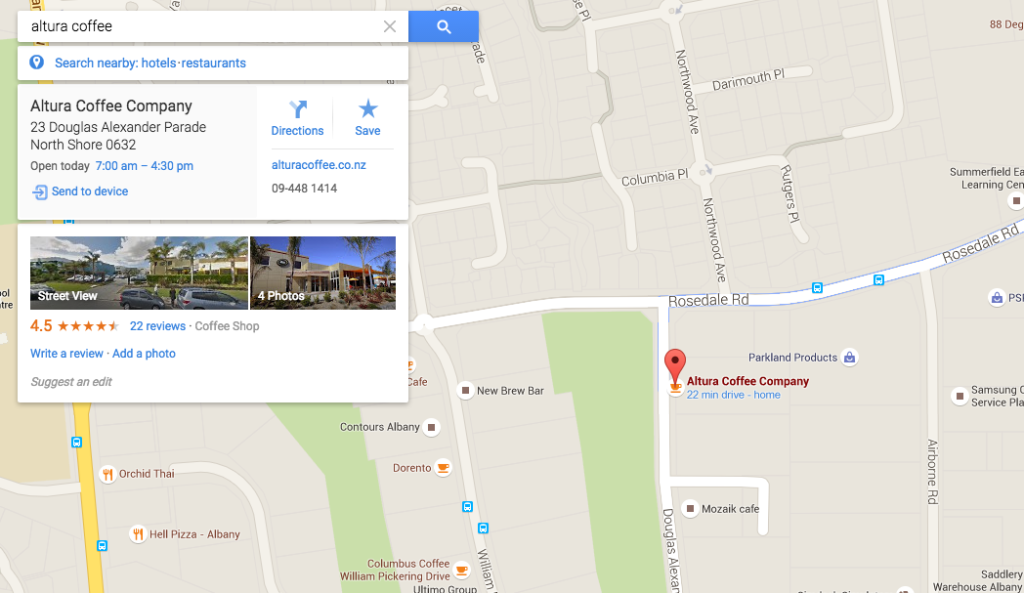 Altura Coffee Maps SERP screenshot before See Inside added
