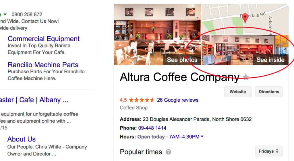 Zoomed In Altura Coffee Cafe Google Search SERP after Street View Inside