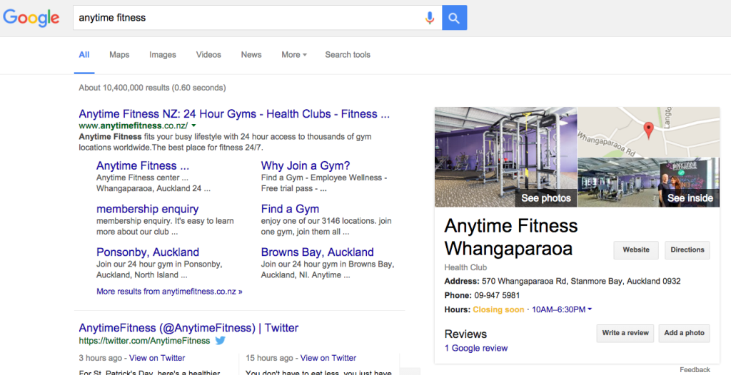After topVIEW Street View inside - Anytime Fitness Whangaparaoa Google SERP
