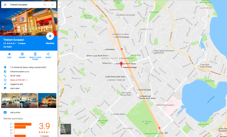 Google Maps screenshot for Tristram European