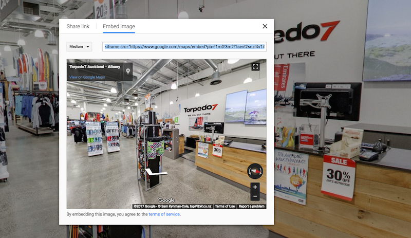Street View Embed code Screen Shot