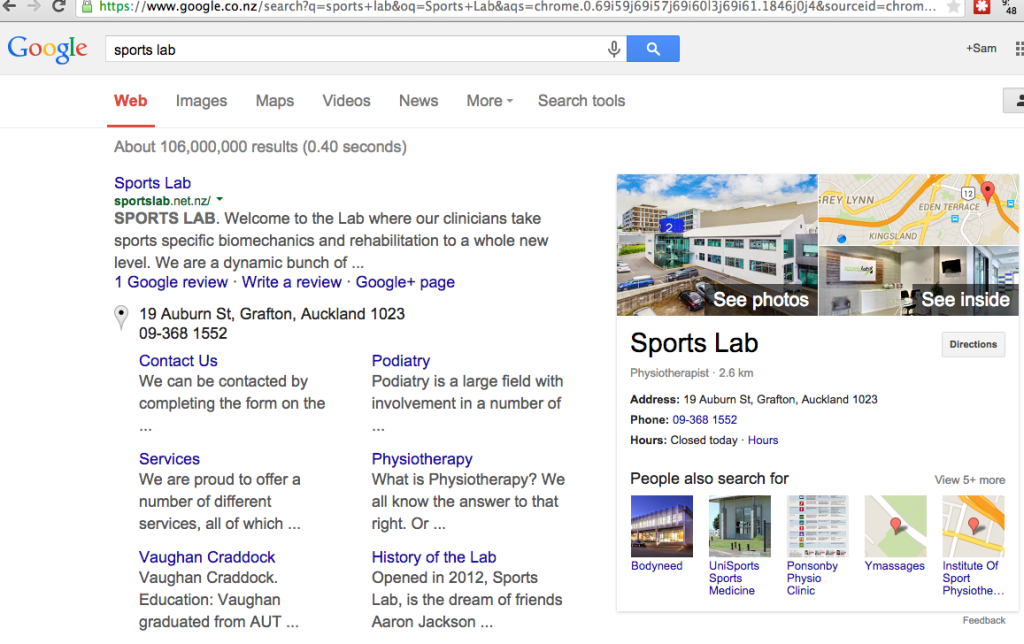 Sports Lab Google Search SERP AFTER Google Street View see inside
